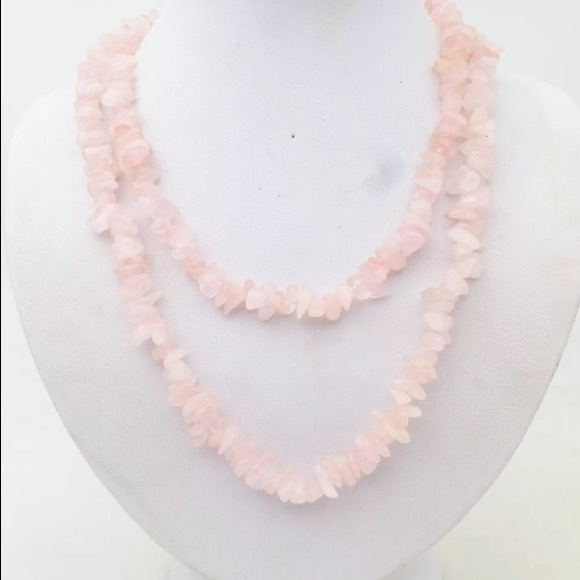 sterling necklace, quartz necklace Sterling silver 925 pink quartz chips station necklace
